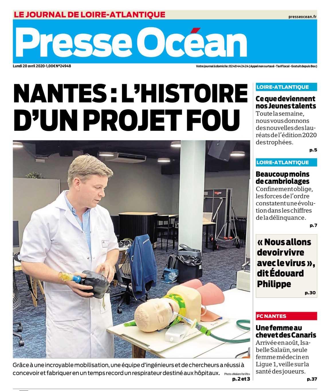 Une de Presse Ocean 20/04/2020